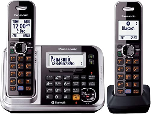 Panasonic DECT Digital Cordless Phone with Link-to-Cell System, Key Finder & Twin-Pack Handsets, Silver (KX-TG7892AZS)