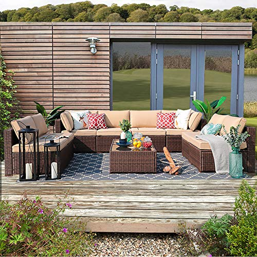 Patiorama 10 Piece Outdoor Patio Furniture Set, Patio Sectional Sofa Set, All-Weather Brown PE Wicker with Beige Cushions, Outdoor Backyard Porch Garden Poolside Balcony Furniture Sets