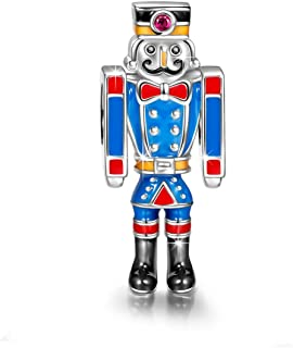 NINAQUEEN Christmas Charms Gifts The Nutcracker 925 Sterling Silver Robot Police Charms Fit for Bracelets Gifts For Teens