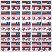 Lozache 24 Sheets American Flag Temporary Tattoos