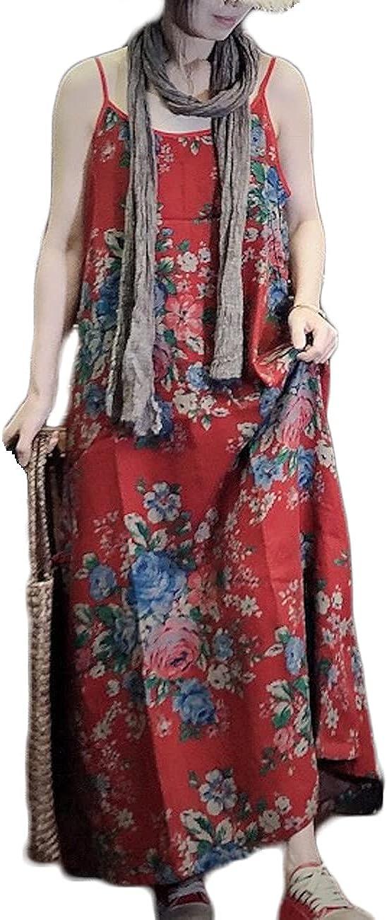 Women Spaghetti Strap Long Maxi Summer Dress Casual Loose Bohemian Floral Print Sleeveless Dresses