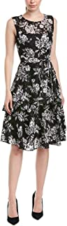 Tahari by ASL Women's Puff Print Sleeveless Lace Dress with Side Tie and Tiered Skirt Detail