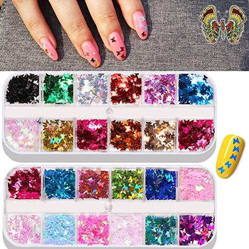24 Color/Set 3D Butterfly Nail Art Glitter Sequins, Colorful Nail Sparkle Glitter Sticker Decals for Nail Art Make Up Decoration Accessories Manicure (Butterfly)