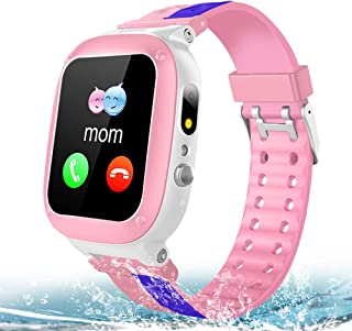 MiKin Kids Smart Watch Phone for Girls Boys IP67 Waterproof GPS Tracker Smartwatch 2 Way Call Voice Message Math Game SOS LED Flashlight Camera 1.44