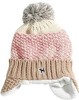 Aimeio Baby Boys Girls Knitted Cap Lined Plush Winter Warm Hat with Earflap Pom Pom Beanie