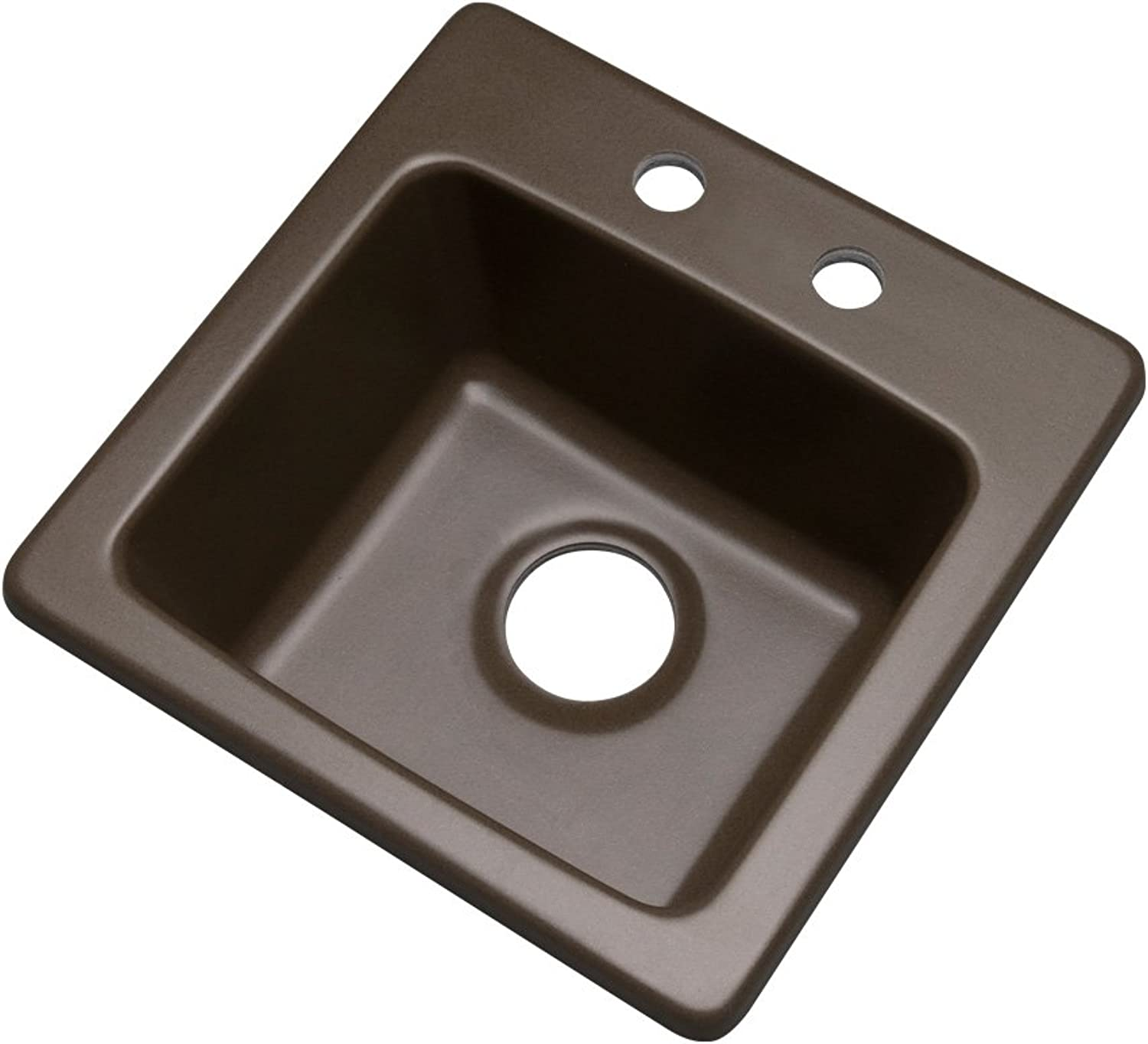 Dekor Sinks 27292Q Duxbury Composite Granite Prep Sink with Two Holes, 16 , Mocha