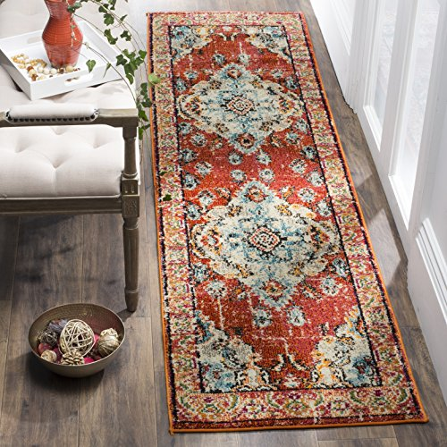 Safavieh Monaco Collection MNC243H Bohemian Chic Medallion Distressed Runner, 2' 2' x 6', Orange/Light Blue