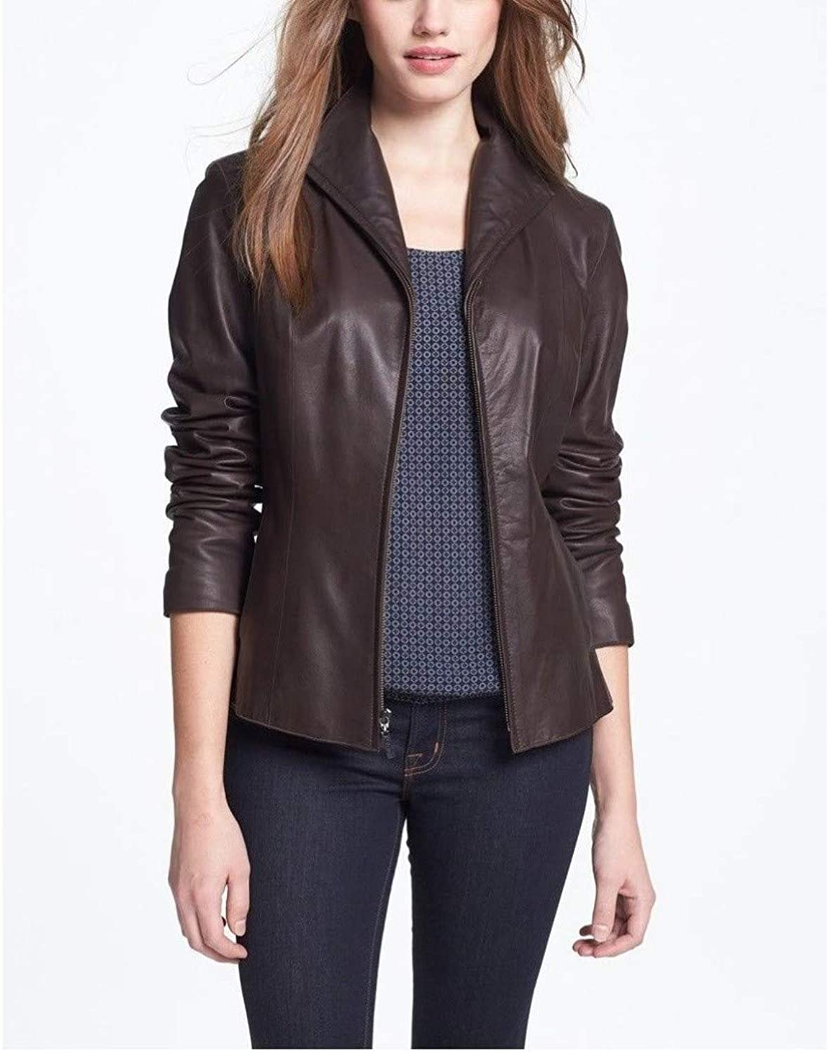 Dillo Leather Motorcycle Bomber Biker Choclate Brown Brown Real Leather for Jacket