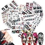 Mwoot 25 fogli Halloween Nail Decals Adesivi Unghie, Misto-colore 3D Design punta autoadesivi Nail Art Stickers adesivi Nail Tips Unghie decorazioni