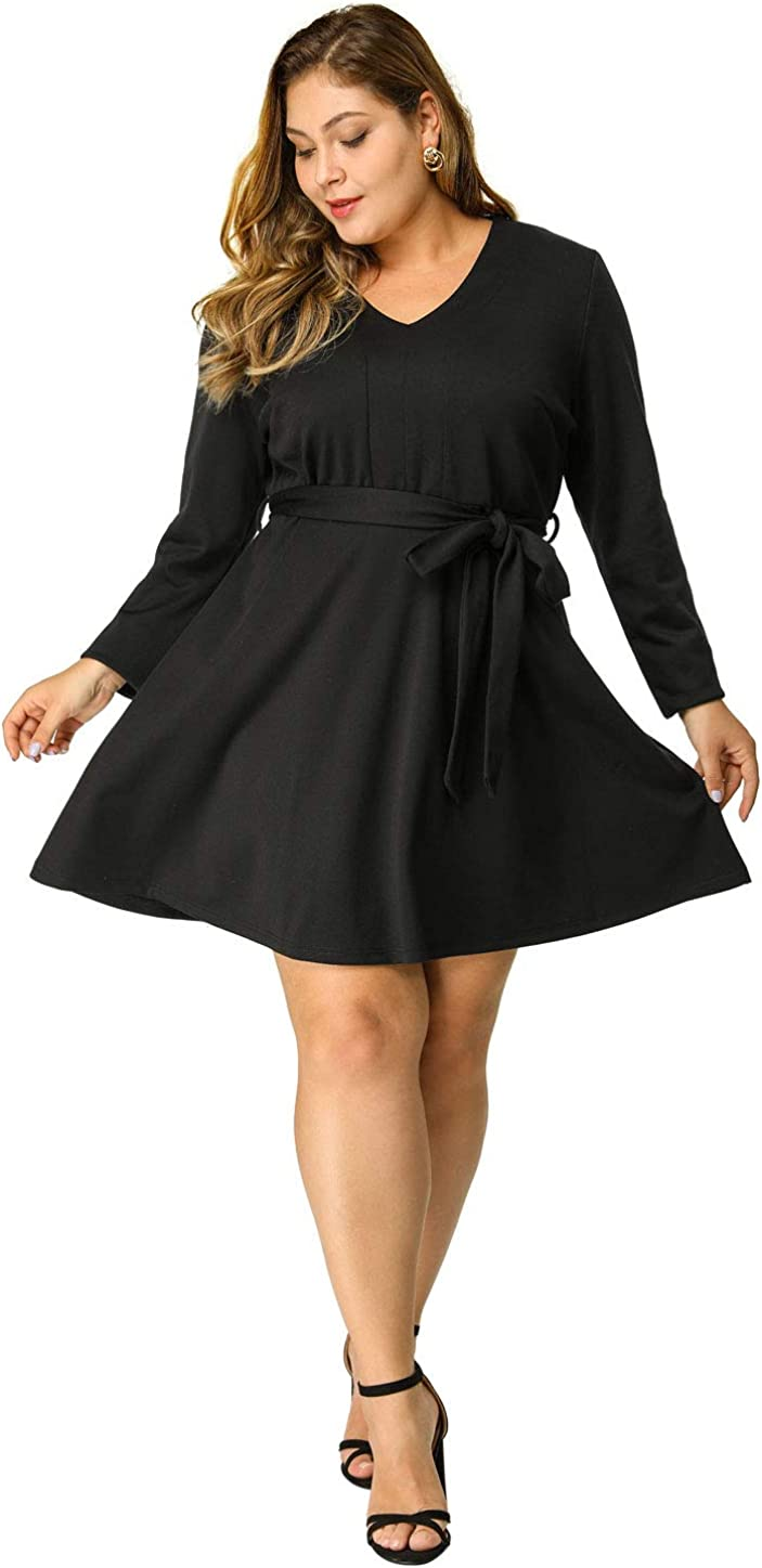 Agnes Orinda Women's Plus Size V-Neck Long Sleeves Belted Tie Waist Midi Black Dress