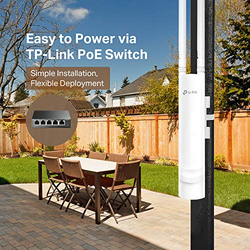 TP-Link EAP225-Outdoor Omada AC1200 Wireless Access Point – Waterproof, Dustproof, Lightening Protection, Seamless Roaming, Gigabit, PoE Powered, Free PoE Injector, Free Managing Software, White