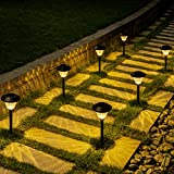 Solpex Solar Pathway Lights 6 Pack, Solar Path Lights Outdoor Warm White, Waterproof Glass Metal Automatic Solar Landscape Lights for Path, Garden, Yard and Walkway