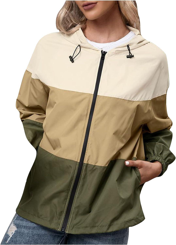 Women Rain Jacket Outdoor Color Contrast Waterproof Hooded Raincoat Windproof Raincoat