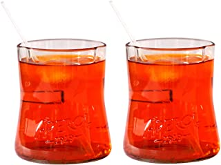 Coppia di bicchieri 100% ecosostenibili ideali per cocktail e realizzati dal recupero di bottiglie Aperol