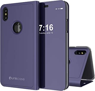 Punkcase XS Max Reflector Case Protective Flip Cover W/Scratch Resistant Semi Translucent Mirror Front & Non-Slip PU Leather Back Integrated Kickstand Compatible W/Apple iPhone Xs Max (Purple)
