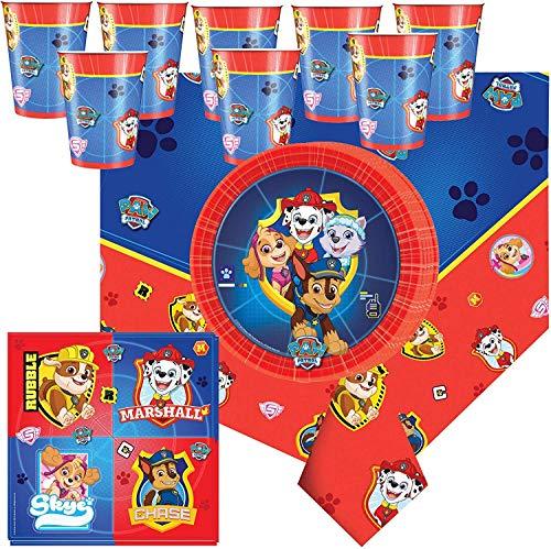 Libetui 37 Teile Amscan Paw Patrol Party Geschirr Set Kindergeburtstag Teller Becher Servietten Tischdecke für 8 Kinder (Rot-Blau)