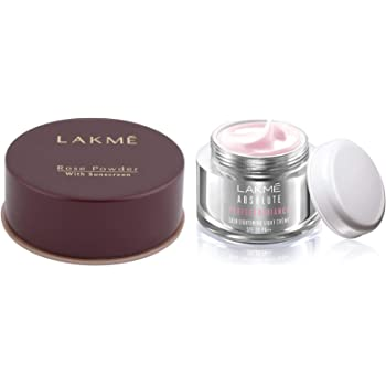 Lakme Rose Face Powder, Warm Pink, 40g & Lakme Absolute Perfect Radiance Skin Lightening Light Creme, 50g