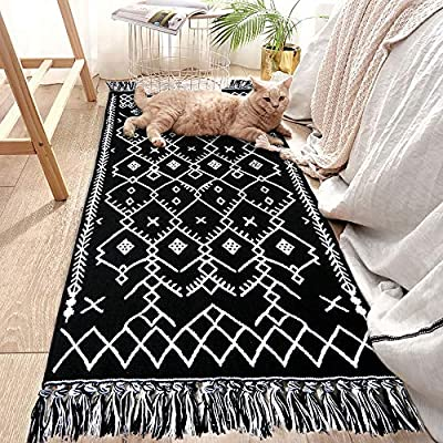 Upgraded Boho Bathroom Rug, 2x4.3 Bohemian Rug Runner Black White Bath Mat, 100% Woven Washable Cotton Small Throw Rug Decorative Porch, Tassel Rug for Kitchen Laundry Doorway Bedroom - 【HAND-WOVEN】: Black and white rug, which is not printed but hand wovened. Geometry pattern on the floor runner adds exquisite detail and craftsmanship, also with cute tassel fringe on both ends bring a stylish look and keep you up with the latest trends of home decor 【RUG SIZE】: Size at 2.0 x 4.3 feet. Tassels is about 2 inches. Black and pure white hand woven with extra snazzy knotted fringe tassels on each side, vibrant color, extremely durable, and reversible 【100% COTTON MATERIAL】: Our bohemian rug is well made by highly quality cotton material, eco-friendly fabric, great water absorption, antistatic, soft and durable cotton rug. Half inch deviation is allowed due to hand-cutting and sewing - runner-rugs, entryway-furniture-decor, entryway-laundry-room - 61W383Qg7aL. SS400  -