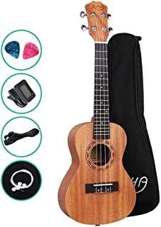 Ukulele 23 Inch Ukulele with Tuner Strap Extra Strings Picks ALPHA - Natural