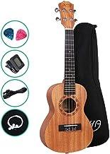 Ukulele 23 Inch Ukulele with Tuner Strap Extra Strings Picks ALPHA - Natural