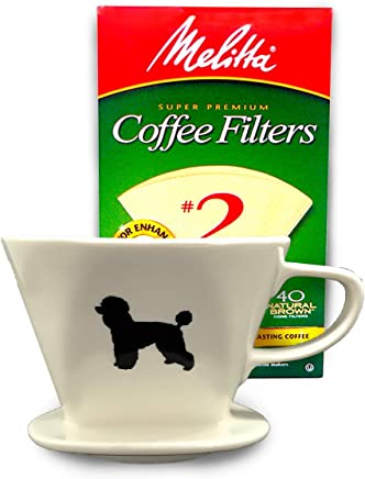 Poodle Coffee Pour Over Single Cup Ceramic Brewer with Melitta Filters by Simply Charmed
