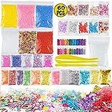 Blanketswarm 60er Pack Schleimzubehör-Set, Flauschige Schleim-Perlen und transparenter...