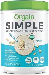 Orgain Simple Organic Plant Protein Powder, Vanilla - 20g Protein, Vegan, Dairy and Gluten Free, Stevia Free, Made with Fewer Ingredients, Kosher, Non-GMO, 1.25 Pound