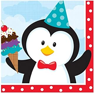 Creative Converting 18 Count Beverage Napkins, Penguin Party