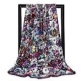 Ecroon Fulares Pañuelos para la cabeza Bufandas Pañuelo de Cuadrado para Mujer Turbante Bufanda Cuadrada Seda