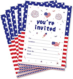 CC HOME Veterans Day Patriotic Party Invitations,Summer BBQ Cookout Invitations With Envelopes (20 Count) for Patriotic Day,Veterans Day Party, Military Graduation Pool Family Reunion Invite, Picnic Cookout Invites ,Baby Shower ,Birthday Party Decorations