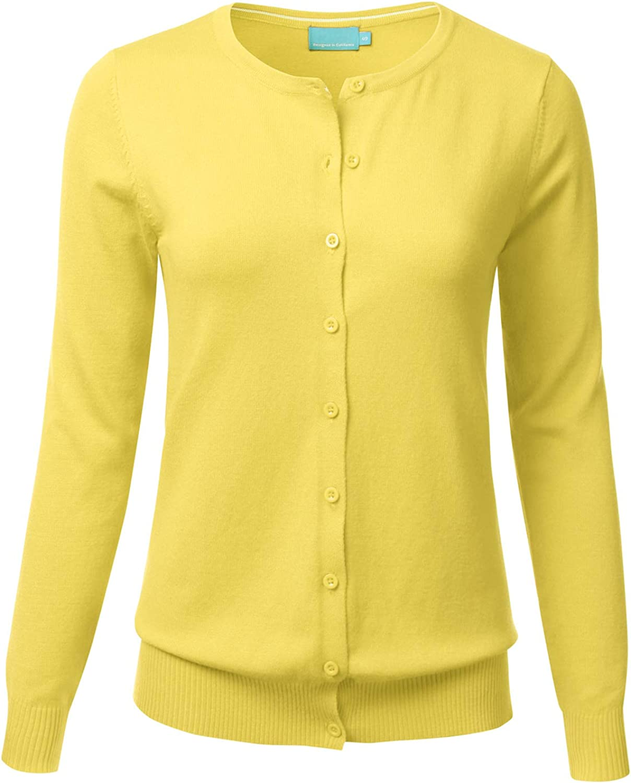 FLORIA Women's Button Down Crew Neck Long Sleeve Soft Knit Cardigan Sweater Yellow M