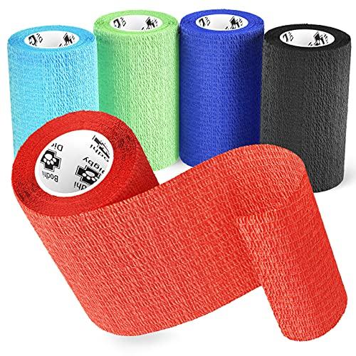 Bodhi & Digby Bandaże spójne. 10 cm szerokości x 4,5 m długości. 5 rolek samoprzylepnego bandaża w 5 kolorach. Idealna taśma sportowa, opaska dla psów i koni, bandaż dla psów.