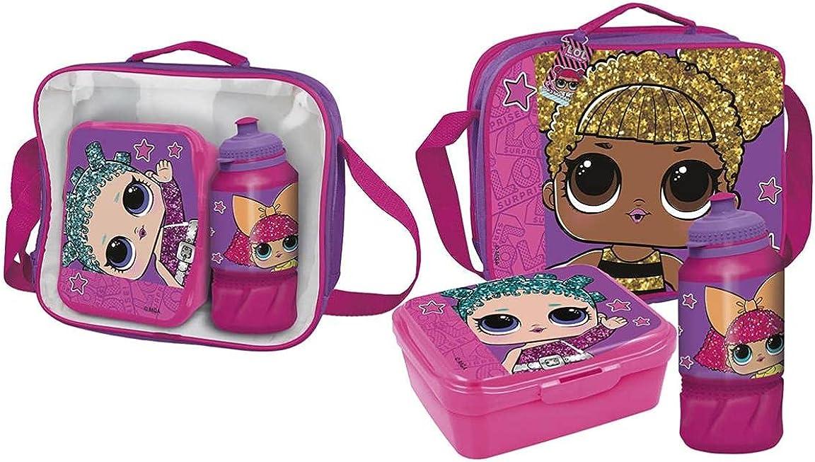 Cerdá, Portameriendas Termico con Botella Infantil y Tupper Licencia Oficial LOL Surprise Unisex niños, Multicolor, 23.0 X 15.5 X 8.0 CM