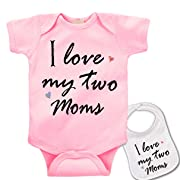 Promini Two Moms Two Mommies Lesbian Baby Bodysuit Baby Clothes