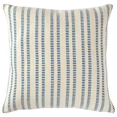 Stone & Beam French Laundry Stripe Decorative Throw Pillow, 17' x 17', Ivory, Turquoise