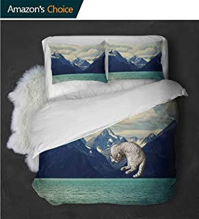 Temox High-end Hotel Quality Northern Norway Atlantic Coastline Fishing Harbor Snowy NatureDark Blue Almond Green White Quilt Three-Piece -3 Pieces (Includes 1 Quilt- 2 Pillow)
