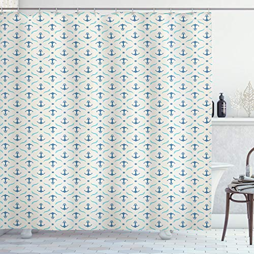 ABAKUHAUS Ancla Cortina de Baño, Ondas de Yates Estrellas, Material Resistente al Agua Durable Estampa Digital, 175 x 200 cm, Beige Azul Azul pálido