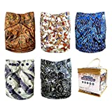 Baby Needs It Reusable Cloth Diapers, Hybrid Model (All in Two & Pocket), One Size fits Babies & Toddlers, for Boys and Girls, 5 Pack with 10 Bamboo Inserts – Unique Patterns and High Absorbency