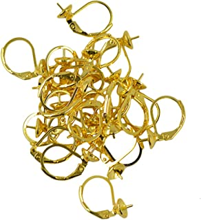 Prettyia 20PCS Lot Leverback Earring Findings Round Hoop Ear Wire For Bead Color Choice