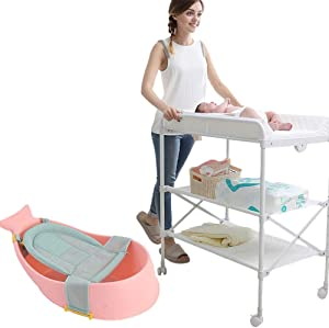YXNN Roller Baby Goods Rack With Tub  Baby Changing Tables Height Adjustable Baby Diaper Table Unit Station Care Table Foldable Shower Table  Color Orange