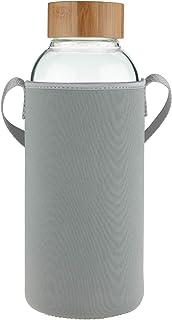 Ferexer 1.5 Liter Sport Borosilikat Trinkflasche Glas Wasserflasche mit Bambus Deckel mit..