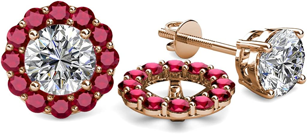 TriJewels Ruby Halo Jacket for Stud Earrings 0.76 ct tw in 14K Rose Gold