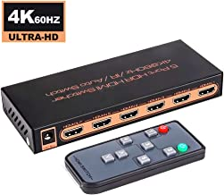 Upgraded 2.0 Version Univivi HDMI 2.0 Switch 4k@60Hz HDMI Switcher 5-Port 5x1 Switch Distributor Support HDR /& HDCP 2.2 Pass-Through /& 3D Visual Effect with Remote Control and Power Supply
