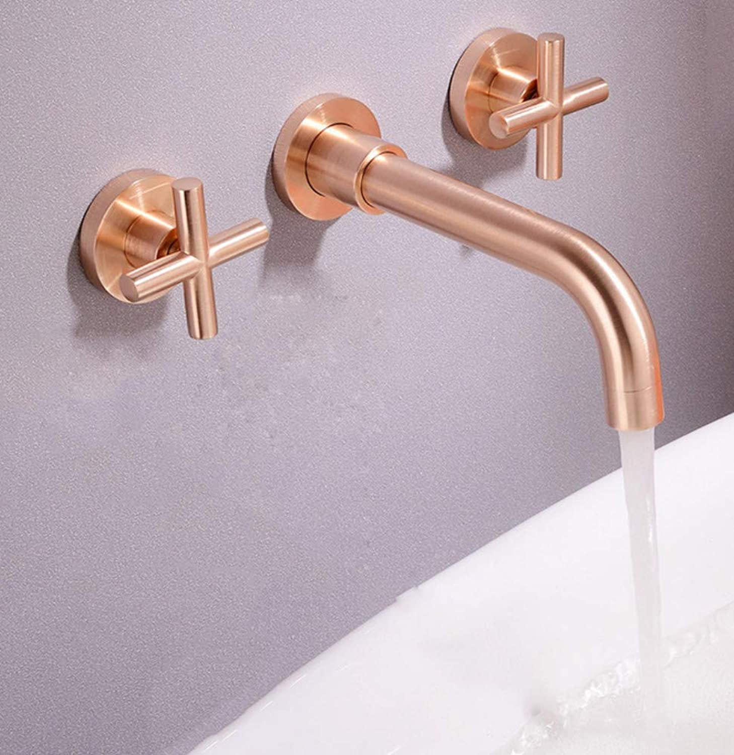 redOOY Bathroom Sink Taps Taps Faucet Basin Faucet copper gold concealed hot and cold water basin faucet brushed gold double double faucet