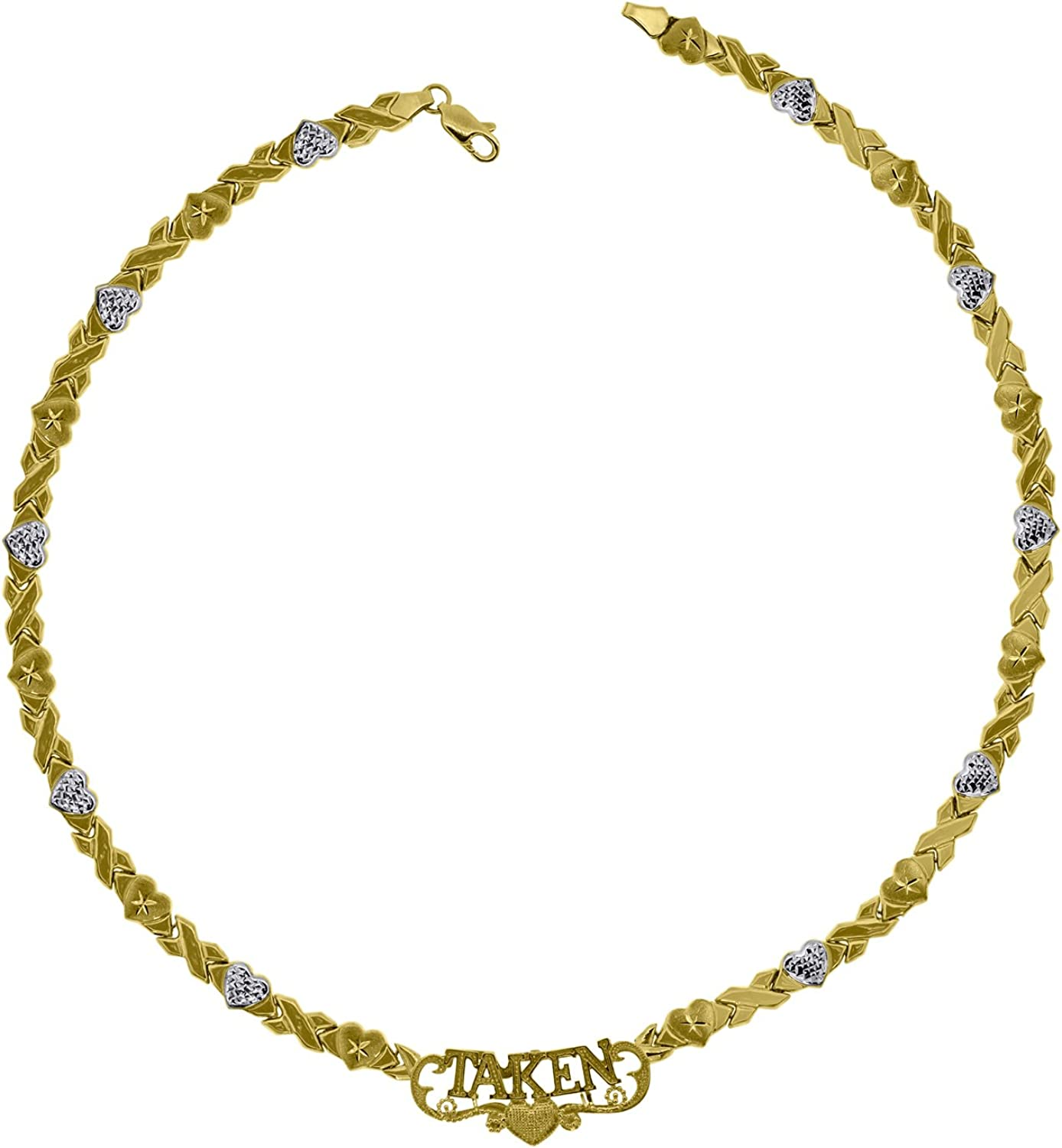 10kt TwoTone gold Womens X and Heart  Taken Fashion Necklace