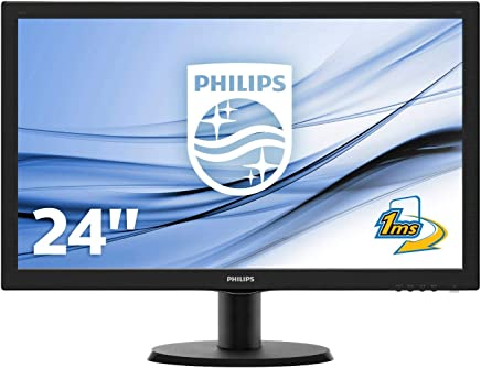 "Philips Monitor 243V5LHSB Gaming Monitor per PC Desktop 23.6"" LED Full HD, 1920 x 1080, 250 cd/m², 1 ms, HDMI, DVI, VGA, Attacco VESA, Nero - Confronta prezzi"