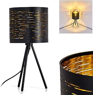 Lampe de table Bathinda noir et or, élégante lampe de bureau vintage, idéal pour une table de nuit, interrupteur on/off su...