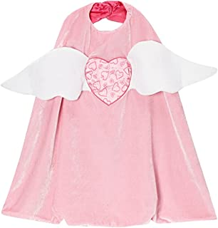 Girls Pink Cupid Angel Valentine Heart Reversible Cape