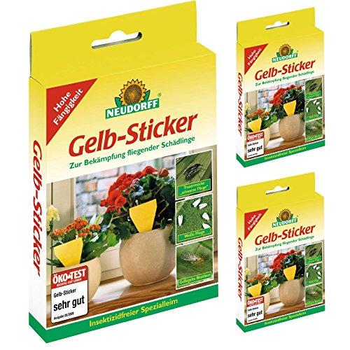 3 x 10 (30 Stk) Neudorff Gelb-Sticker Gelbtafel Klebefalle Insektizidfrei