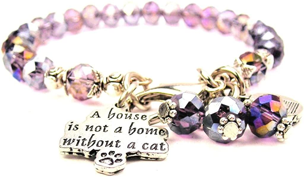 Lavender Purple Crystal A House Is Not A Home Without A Cat Bracelet
